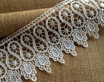 2 Yards Vintage Venice Lace Trim in White For Bridal, Dress, Sashes, Altered Couture, Crafts