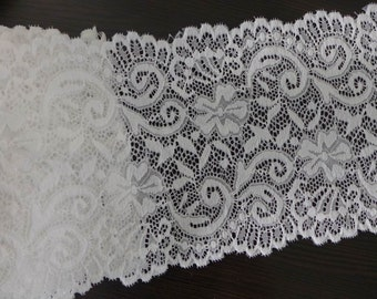 """White Stretch Lace 5.7"""" Scalloped Elastic Lace Bridal Wedding Gloves Headbands Stretchy Lace 2 Yards"""