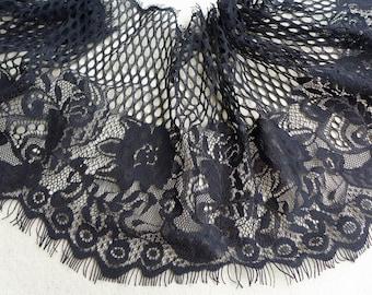 Black Chantilly Lace Trim, Flower Trim and Hollowed-out, Black Wedding Lace Fabric Trim, Women Shawls Lace