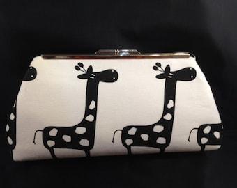 Fun Giraffe Print Clutch Purse with Silver Finish Snap Close Frame