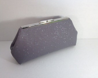 Silver Sparkle Chiffon Clutch with Silver Frame, Wedding Clutches,  Glitter Purse, Special Occasion Clutch, Mother of the Bride or Groom