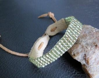Loom Beaded Leather Bracelet