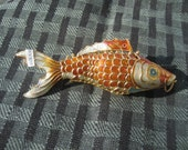 Vintage Chinese Cloisonné Giant 3-D Hand Madearticulated fish charm Green, Purplle, Blue and Gold like Orange, Pendant