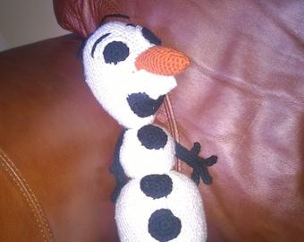 Crocheted Olaf plush toy