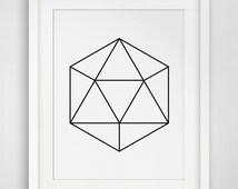 Gem Art, Abstract Print, Geometric Wall Art, Gem Prints, Diamond Art, Abstract Wall Prints, Geometric Art, Diamond Black and White, Minimal