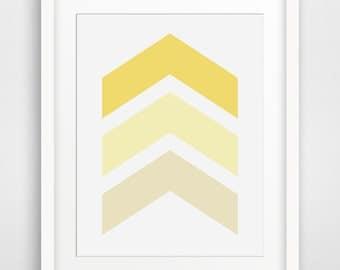 Chevron Wall Art, Mustard Yellow Chevron Print, Yellow Chevron Arrow Print, Pastel Yellow, Spring Colors, Arrow Print, Geometric Art
