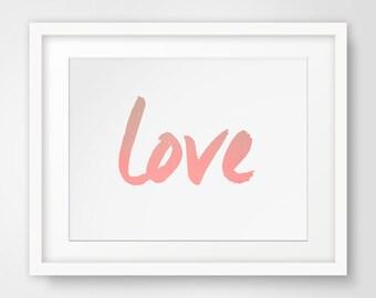 Love Art, Pink Wall Art, Pink Prints, Printable Art, Wall Prints, Typography Art, Coral Art, Pink Wall Art, Printable Decor