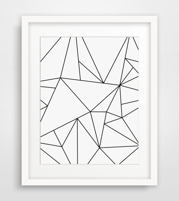 Geometric art black and white minimalist art by for Minimal art wall