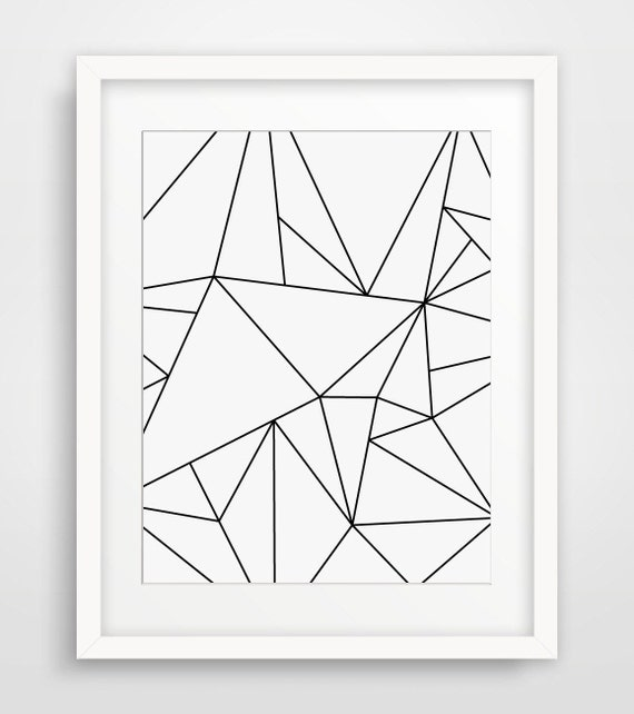 Geometric art black and white minimalist art by for Minimalist wall decor