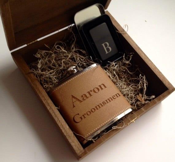 Wedding Gift Idea - Groomsmen Gift Set of 8 - Keepsake Box - Flask ...