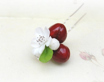 Cherry Blossoms Hair Pins- Summer trends - Hair floral accessorries - Berries hair accessories