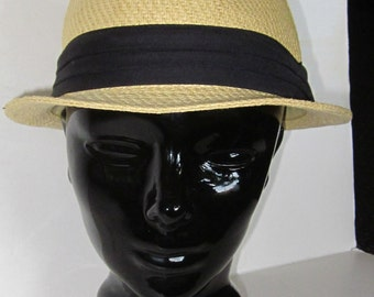 Natural Woven Straw Fedora Hat with Black Pleated Cotton Hatband-Small Brim Size 7- 7 1/2
