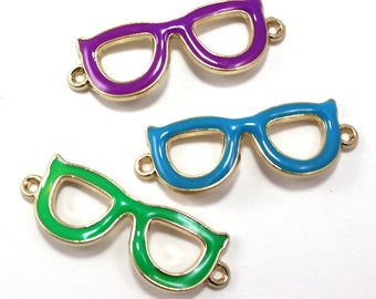 Metal Glasses Pendant Charms (pack of 3)
