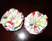 Pig Tail Hair Clips Girls Accessories Christmas Fabric Flower