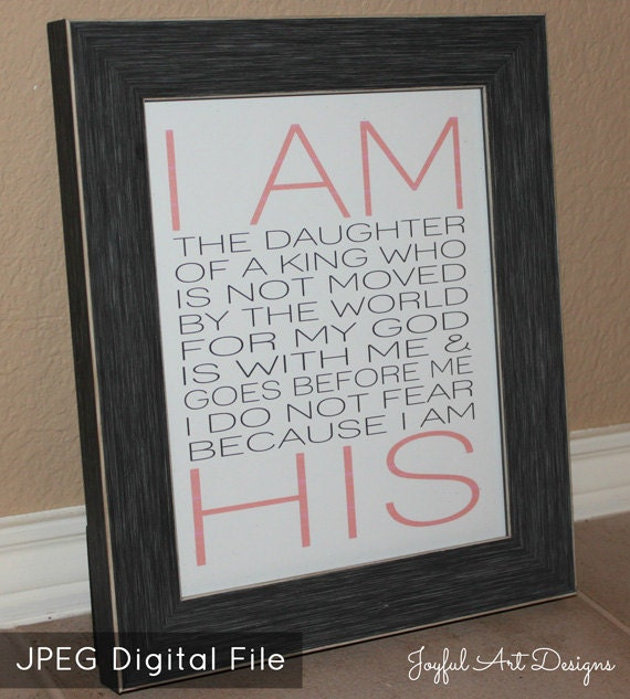 Christian Wall Decor For Nursery : I am his printable christian wall art nursery