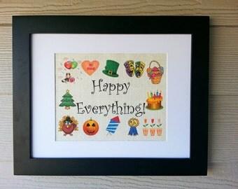 Happy Everything 11x14 Framed Burlap Print