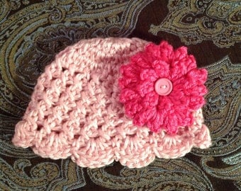 Pretty in Pink Crochet Baby Girl Hat with hot pink  flower,  Made to Order , Baby Girl  Hat with Flower,  Photo Prop Beanie