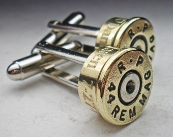 44 Magnum Remington Brass Engraved Bullet Head Grooms Groomsman Personalized Wedding Cufflinks Set Wedding