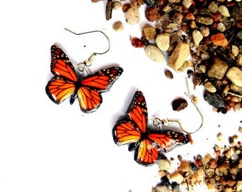 Free Shipping Worldwide, Monarch Butterfly earrings, Butterfly Jewelry, Butterfly wing earrings, Wing jewelry, Summer jewelry