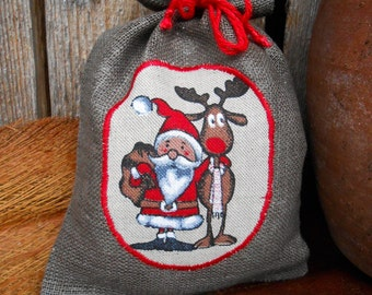 Christmas Gift Bag Scandinavian Holiday Gift Bag Santa Sack Linen Gift Bag Christmas Bag Gnome Elf Tomte Nisse Gift Wrap Swedish Christmas