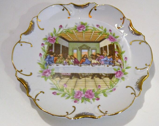 Vintage Decorative Plate Last Supper Floral Gold Pink Green  PanchosPorch