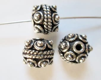 1 pc 925 Sterling Silver Bead, 6.7 x 7.8 mm