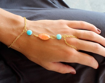Coral Aqua and Gold Hand Bracelet Hand Chain Slave Jewelry