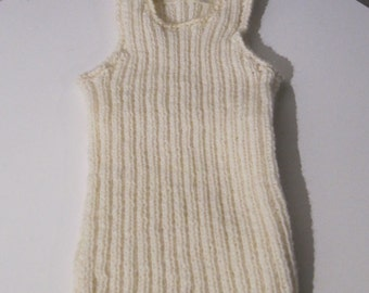 K109 Handmade Knitted off white baby undershirt in wool mix, perfect for Winther, ready to ship -