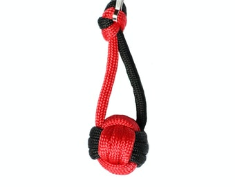 Volleyball Keychain Gift, Paracord Red and Black or Red and White, Volleyball Present