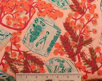 Melissa White fabric Misaki Delft & Mimosa MW06 Slavic red orange floral 100% Cotton Fabric Sewing Quilting fabric by the yard freespirit