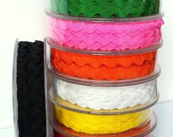 9mm Ric Rac Ribbon, coloured ric rac ribbon, ribbon for noticeboards, ric rac braid for sewing