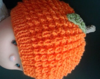 orange soft  knitted hat for baby