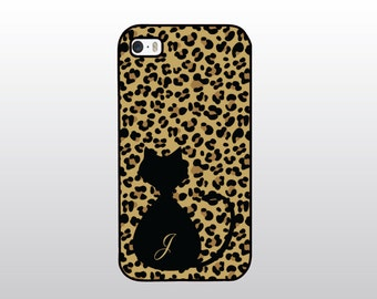Cat iPhone 4/4S, 5/5S, 5C or 6 Case Leopard Print - Hollywood Glam iPhone- Animal Print - Monogrammed Gift for Her - Cat Lover Gift