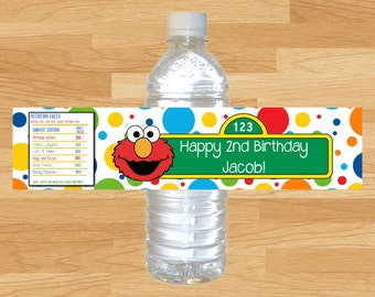 Custom Made Elmo Birthday Water Bottle Wrappers