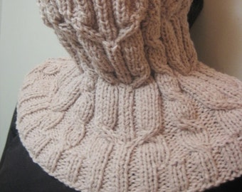 Infinity scarf, Knitted cowl, knitted alpaca wool cowl, knitted snood in light brown colour, woman winter accessory with cable