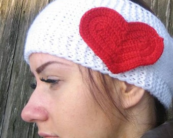 Handmade Knitted Headband with crochet heart  Wrap Red heart Hat Girly Romantic, winter accessories women headband