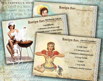 Pin Up Recipe Cards - Digital Collage Sheet - Recipe Cards - Cooking - Pin Up - Retro - Digital Paper - Scrapbook - Decoupage - Printables