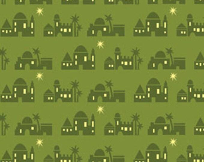 Half Yard Christmas Pure & Simple - Bethlehem Wintergreen - Cotton Quilt Fabric - Nancy Halvorsen for Benartex - Pure and Simple (W1790)