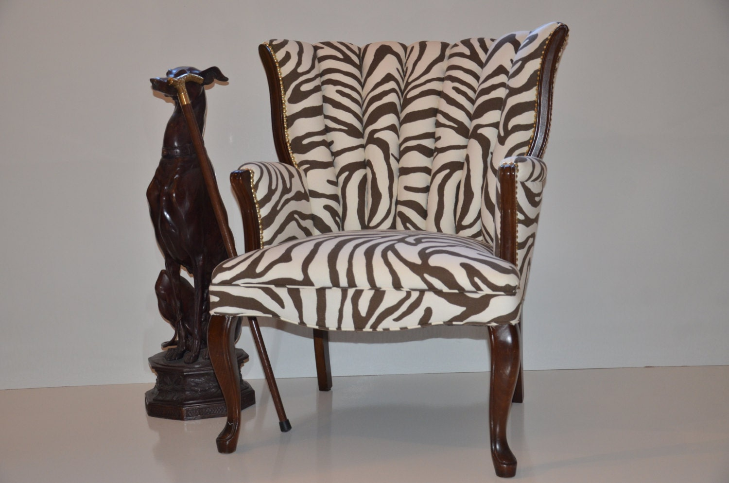 Sold Vintage Shell Back Chair Brown And White Zebra Print