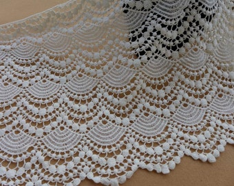 Cream White Lace, Cotton Lace Trim, Antique Scalloped Lace Fabric Trim, Cotton Crochet Lace in Cream white