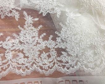 off white alençon lace fabric, Corded lace fabric, bridal lace fabric, Dotted tulle lace fabric, wedding bolero fabric