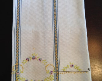 Hand Embroidered Vintage Linen Towel