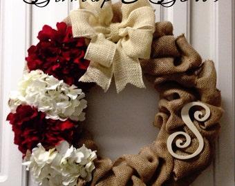 Red & cream burlap wreath