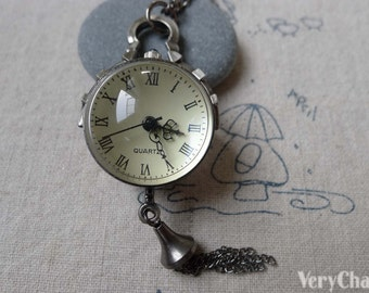 1 PC of Antique Silver Glass Bubble Orb Pocket Watch 25mm A7144