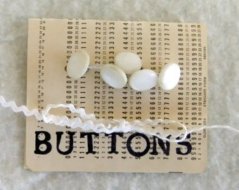 Five White Vintage Buttons with a Metal Shank