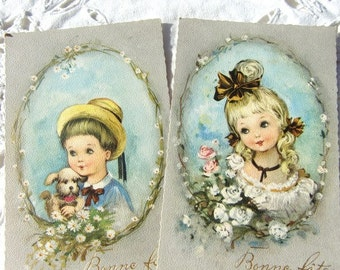 french vintage happy birthday  Postcards  r,little  boy and  girl, unused, floral decor
