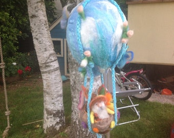 Carillon balloon for cardatae wool cot musical fairy tale, Waldorf style, custom