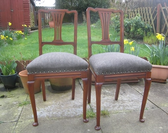 Vintage Mahogany Bedroom Chair / Side Chair - French Polished and Reupholstered