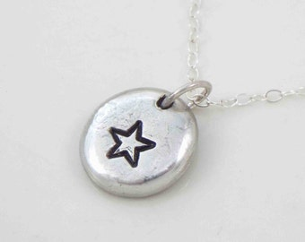 Star Necklace, Graduation Necklace, Personalized Necklace, Hand Stamped Star Necklace, Stamped Star, Graduation Star, Motivational Jewelry