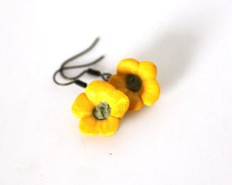 Buttercup Earrings, Yellow Spring Flowers, Polymer Clay Jewellery